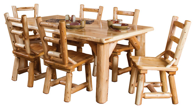 rustic white cedar log family dining table set with 6 chairs sets - Rustic Dining Set