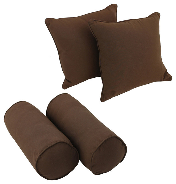 Solid Twill Throw Pillows With Inserts, Set Of 4, Black.