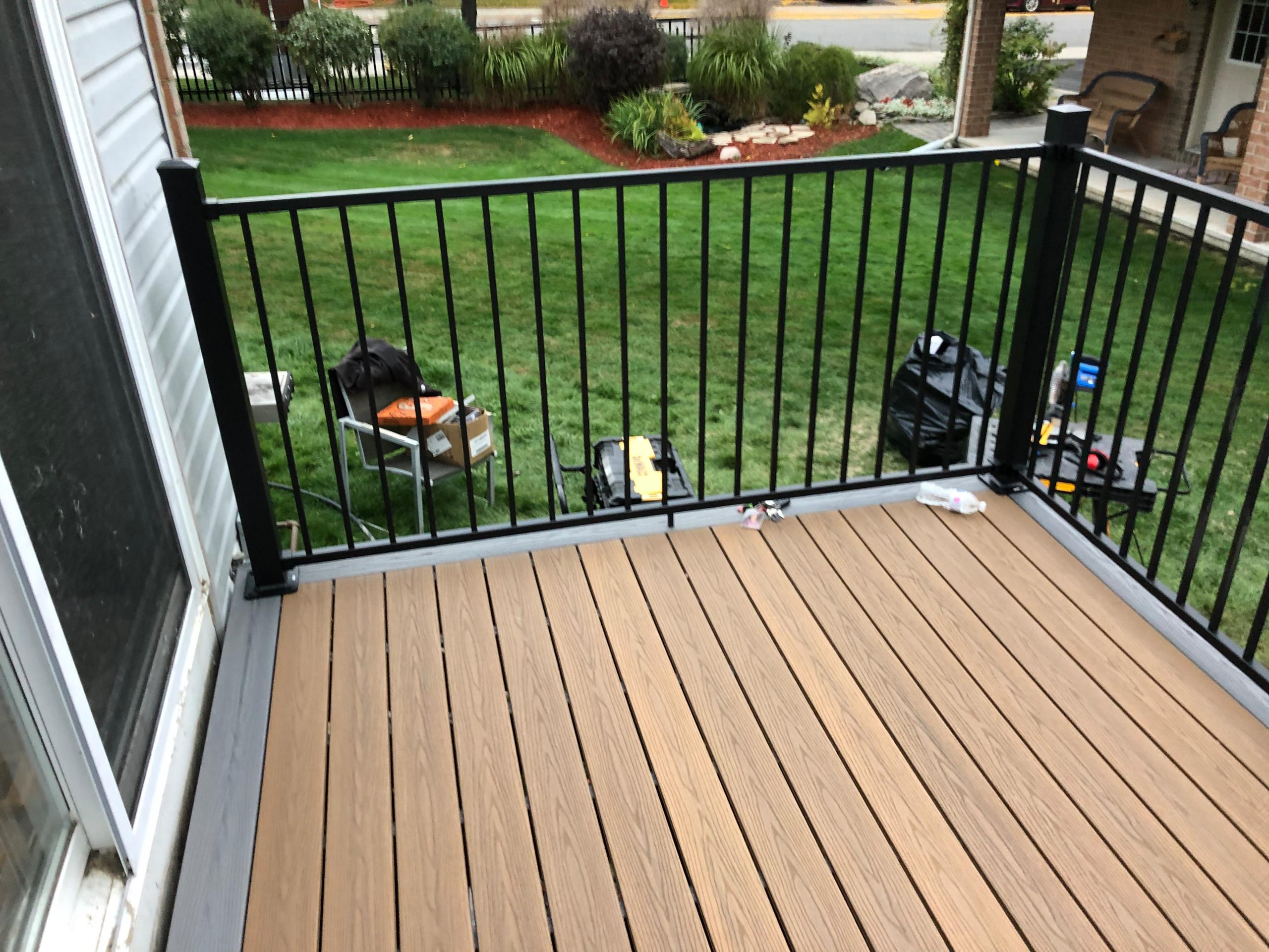 composite deck with black railing
