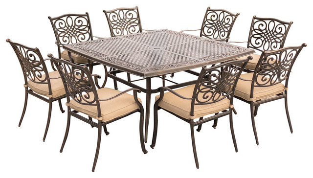 9-Piece Square Dining Set, Tan With Large 60x60 Cast-Top Dining Table.