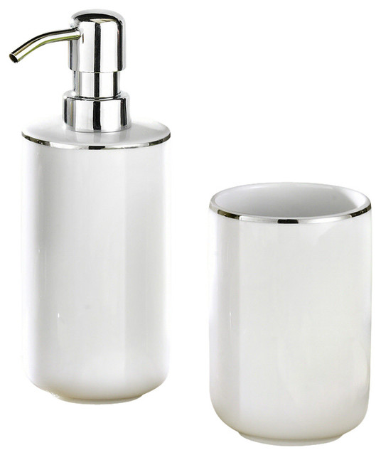 White Porcelain Bath And Spa Accessories Set Traditional Bathroom Accessory Sets