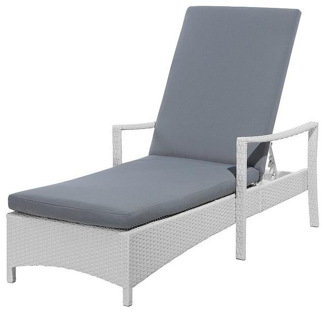 Vasto White Rattan Sun Lounger With Grey Cushion