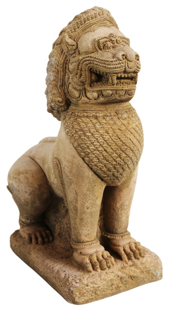 Sandstone Thai Guardian Lion Statue Asian Garden Statues And Yard Art