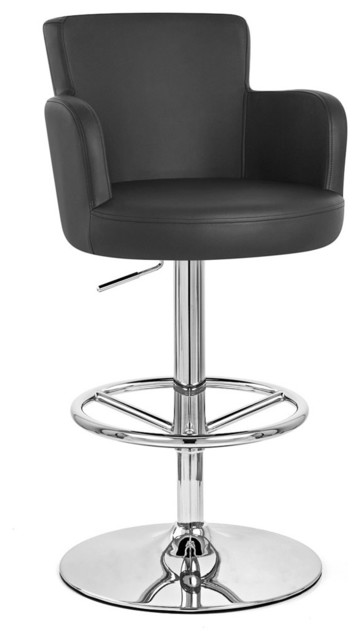 Cau Swivel Barstool With Chrome Base Black Contemporary Bar Stools And
