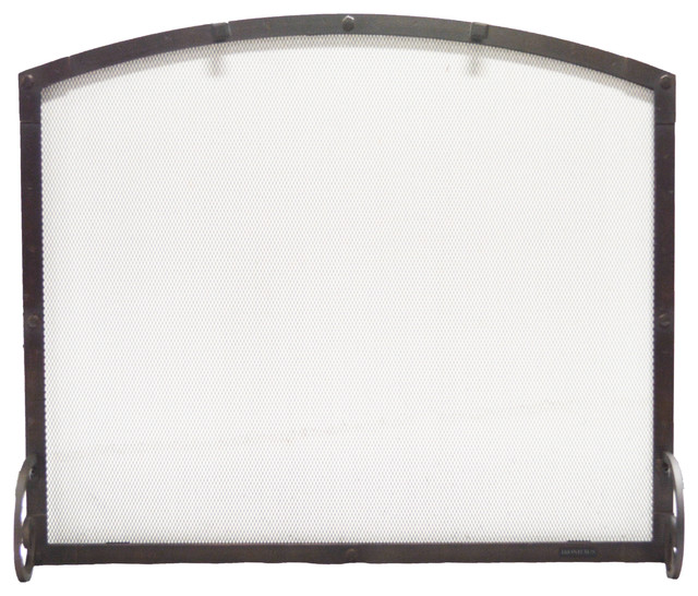 Freestanding Arched Screen, Hammered Black Copper Finish, 38x1x32.