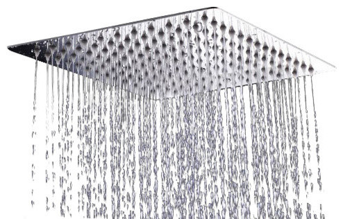 AKDY Square Stainless Steel Shower Head, Chrome Finish, With Arm  Modern Showerheads