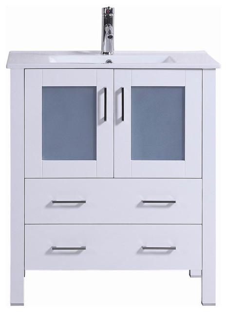 "30"" belvedere modern freestanding white bathroom vanity with"