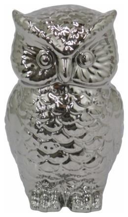 Ceramic Owl Figurine Silver