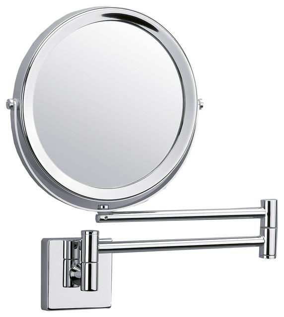 Dwba Wall Mounted 5x Cosmetic Makeup Magnifying 2 Arms Swivel Mirror Polishe