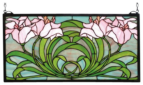 Meyda 22 X11 Calla Lily Stained Gl Window
