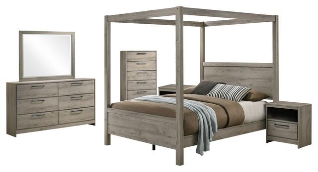 Bunbury 6 Piece Canopy Bedroom Set, Light Gray, Queen