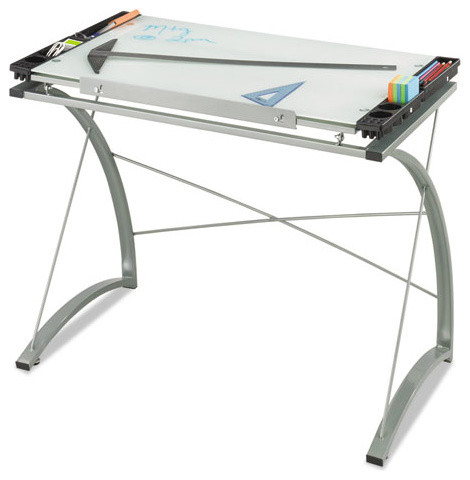 Safco Xpressions Glass Top Drafting Table, 40-3/4w X 23-3/4d X 31-1/2h, Silver.