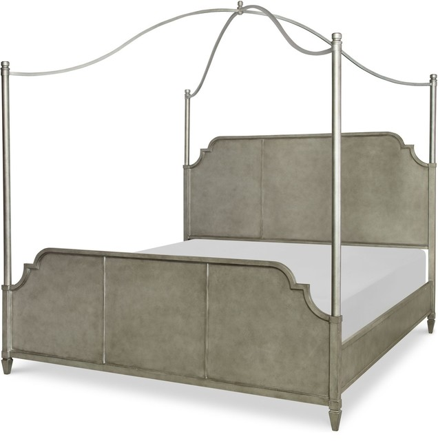 Rachael Ray Home Upstate Metal Canopy Bed, Conciare, Gray, King.