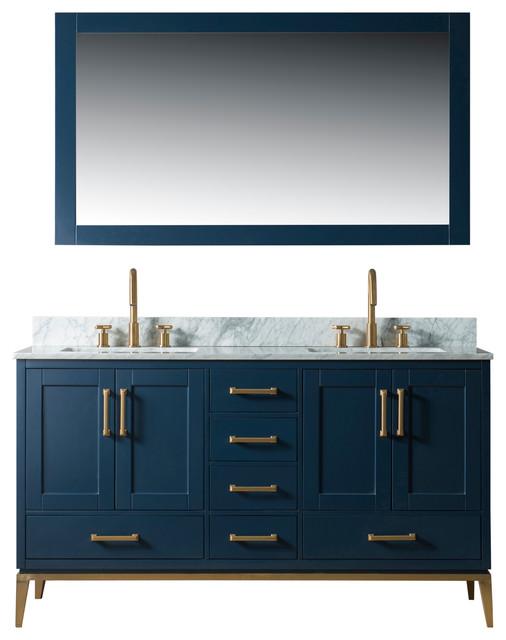"""Joy Bathroom Sink Vanity Set, White Marble Top, Blue, 60"""""""