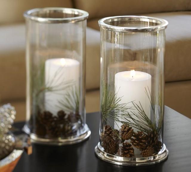 Silver Rim Glass Hurricane - Contemporary - Candleholders ...