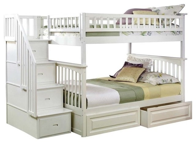 Atlantic Furniture Columbia Full Over Full Staircase Storage Bunk Bed.