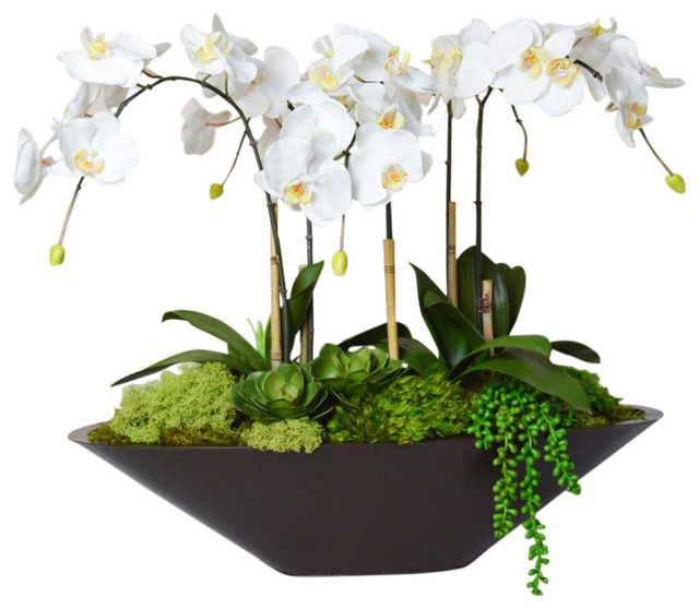 Orchid in Large Metal Boat - Traditional - Artificial Flower ...