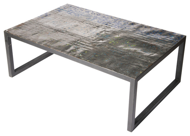 Large Metal Recycled Oil Drum Coffee Table Industrial
