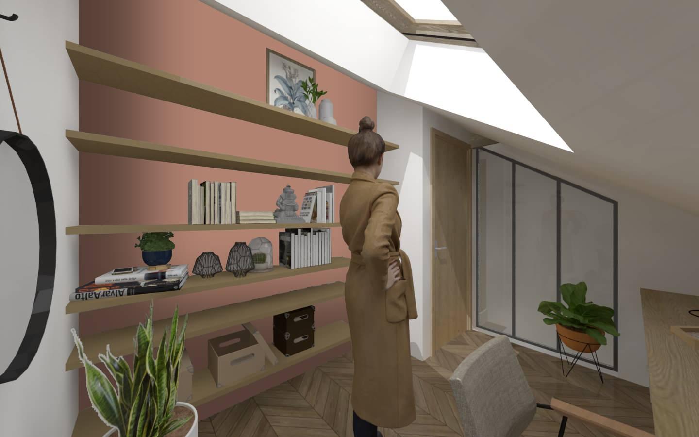 Aménagements des combles d'une maison de plein pied, option 1 le bureau