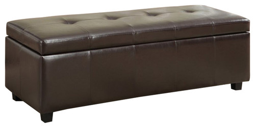 Simpli Home Castleford Storage Bench in Brown
