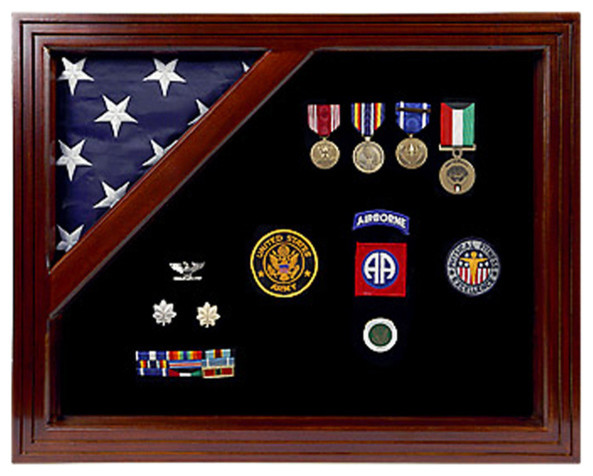 Military Award Shadow Box With Display Case For 3&x27;x5&x27; Flag.