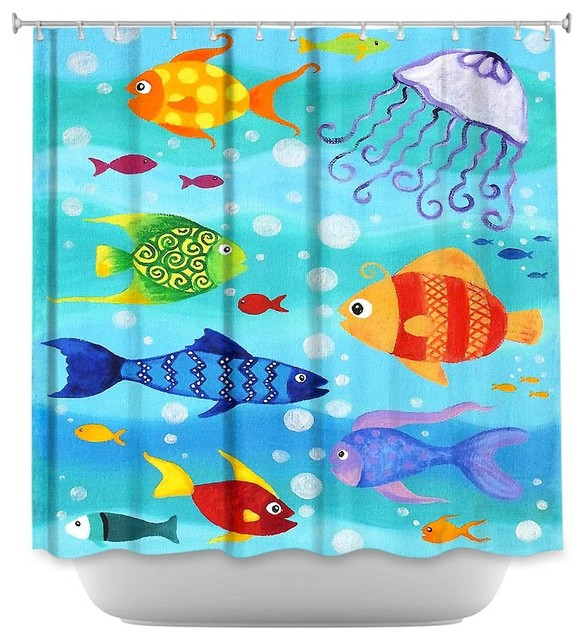 Charming Shower Curtain Unique From DiaNoche Designs   Happy Fish Contemporary Shower  Curtains