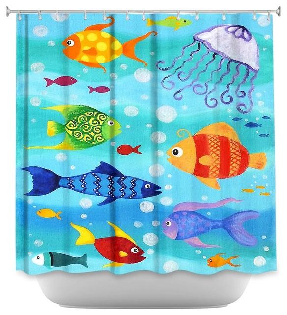 Charmant Shower Curtain Unique From DiaNoche Designs   Happy Fish