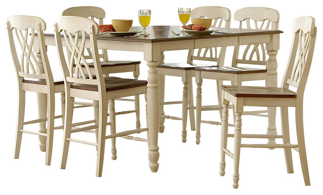 Homelegance Ohana 7 Piece Counter Height Dining Room Set In White Traditional