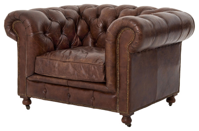 Ace Rustic Lodge Tufted Brown Leather Casters Armchair