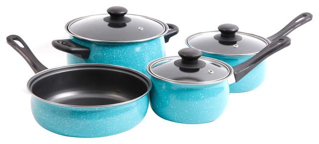 Gibson Home Casselman 7-Piece Cookware Set, Turquoise.