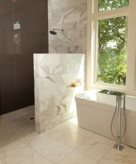 Walk in shower in small bathroom will there be an overspray issue Bathroom designs with window in shower