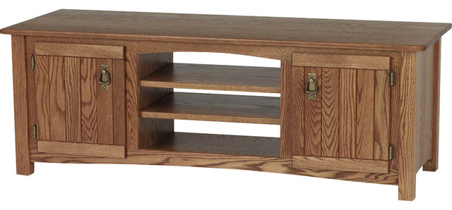 Solid Oak Mission Style Tv Stand With Cabinet Chesnut