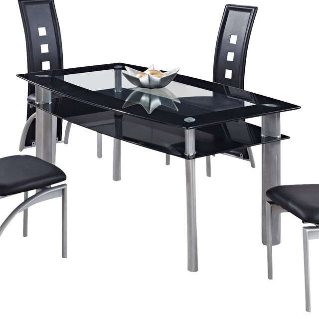 Global Furniture Usa 1058dt Rectangular Black Gl Dining Table With Metal Legs