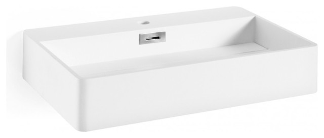 "Mamon Wall Hung/vessel Bathroom Sink In White Mattstone, 26.8"" L X 17"" W X 4.8"""