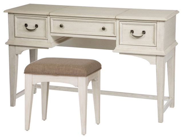 Liberty Bayside Youth 2 Piece Vanity Set Antique White Traditional Bedroom Makeup Vanities By The Sleepers Shoppe