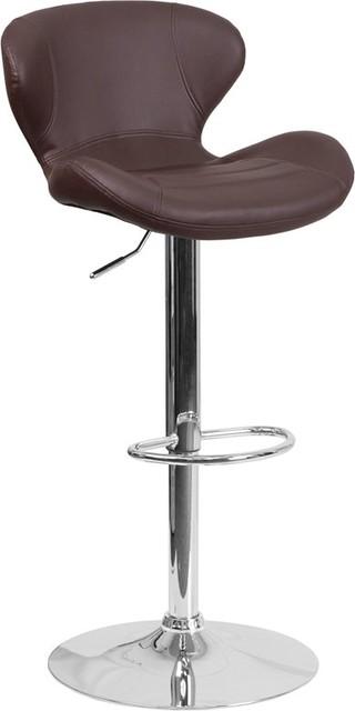 Awesome Estella Aila Mid Back Brown Vinyl Swivel Adjustable Barstool Pdpeps Interior Chair Design Pdpepsorg