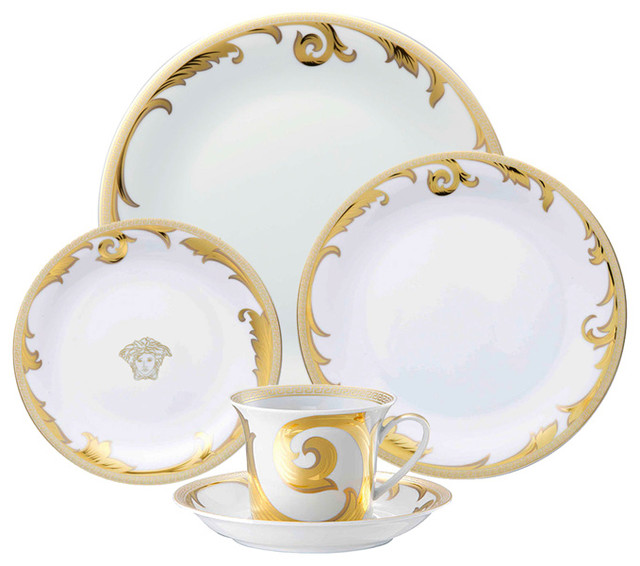 ... Tabletop · Dinnerware · Dinnerware Sets. Versace Arabesque Gold 5pc Place Setting  sc 1 st  Houzz & Versace Arabesque Gold 5pc Place Setting - Traditional - Dinnerware ...