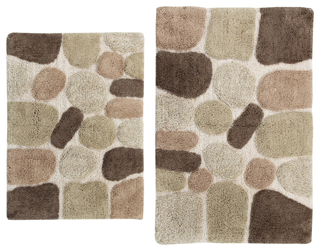 Contemporary Bathroom Mats 2-piece pebbles bath rug set - contemporary - bath mats -