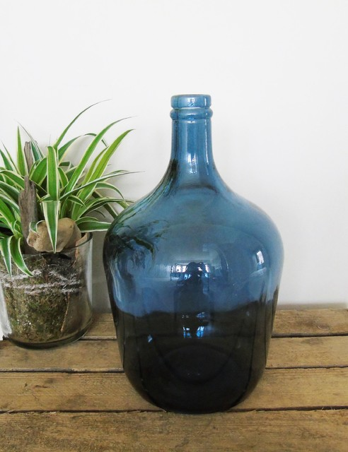 navy blue recycled glass bottle vase