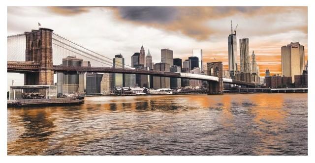 New York City Manhattan Sunset Art//Canvas Print Home Decor Poster Wall Art