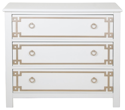 Harnett Metallic Chest, White