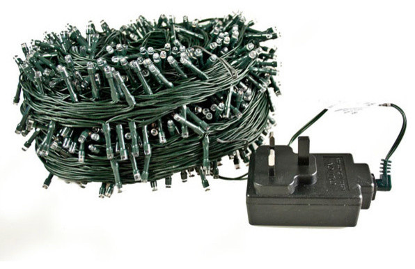 Outdoor LED 720 Fairy Lights, Green Cable, White, 72 m