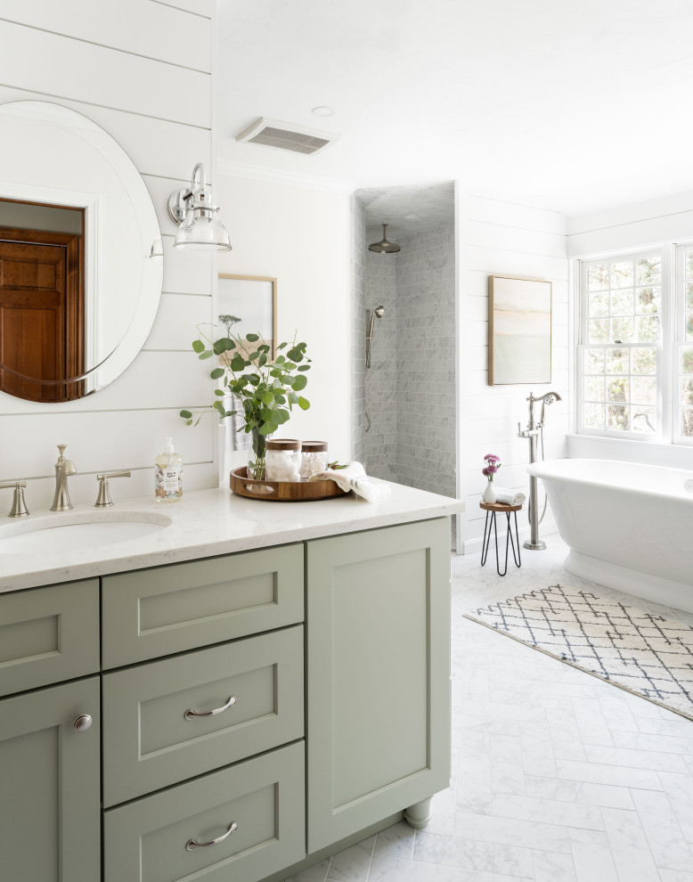 Bathroom - large country master gray tile and porcelain tile porcelain tile, gray floor and double-sink bathroom idea in Boston with shaker cabinets, green cabinets, a two-piece toilet, white walls, a drop-in sink, quartz countertops, white countertops and a built-in vanity