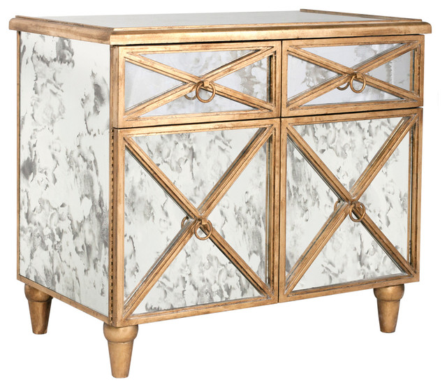 Ritz Hollywood Regency Antique Mirror Gold Crosshatch Bar Cabinet Transitional Wine And Cabinets By Kathy Kuo Home