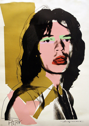 Hand Signed Mick Jagger Pop Art Print By Andy Warhol