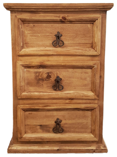 Rustic Wood Bedside Table: Traditional Rustic Nightstand With 3 Drawers