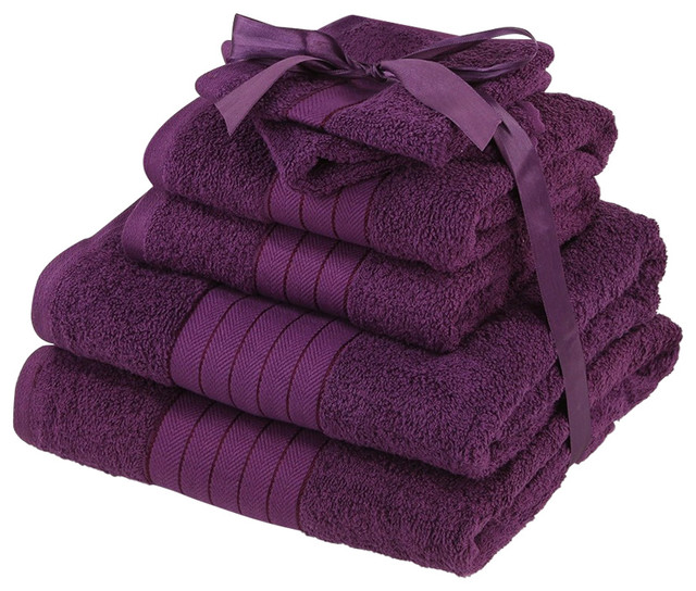 Luxury Supersoft 6-Piece Hand Bath Towels Bale 100% Egyptian Cotton, Purple