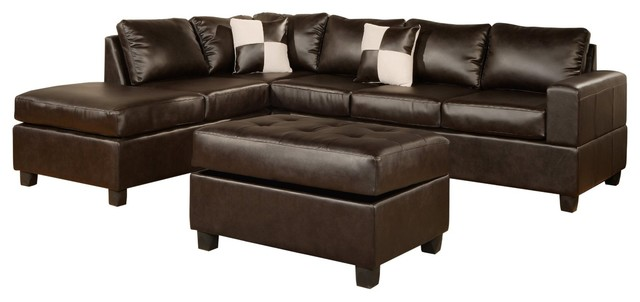 Incroyable Chic Modern Bonded Leather Sectional Sofa Chaise With Ottoman Pillows,  Espresso