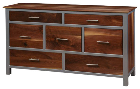 Squarepipe Dresser, Walnut And Silver.
