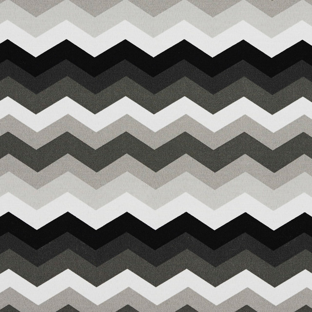 Black Grey And White Chevron Outdoor Indoor Upholstery Fabric By
